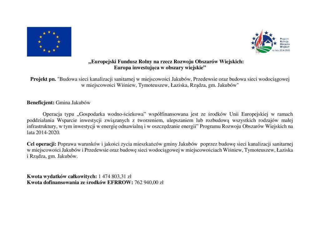 """""""Europejski Fundusz Rolny na rzecz Rozwoju Obszarów Wiejskich: Europa inwestująca w obszary wiejskie"""" Projekt pn."""
