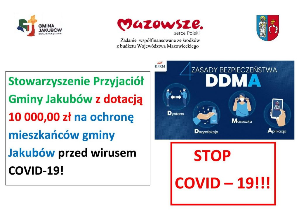Stowarzyszenie Przyjaciół Gminy Jakubów z dotacją 10 000,00 zł na ochronę mieszkańców gminy Jakubów przed wirusem COVID-19