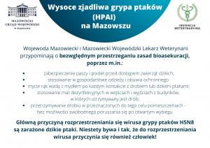 Tekst o zasadach bioasekuracji związanej z ochroną drobiu przed ptasia grypą.