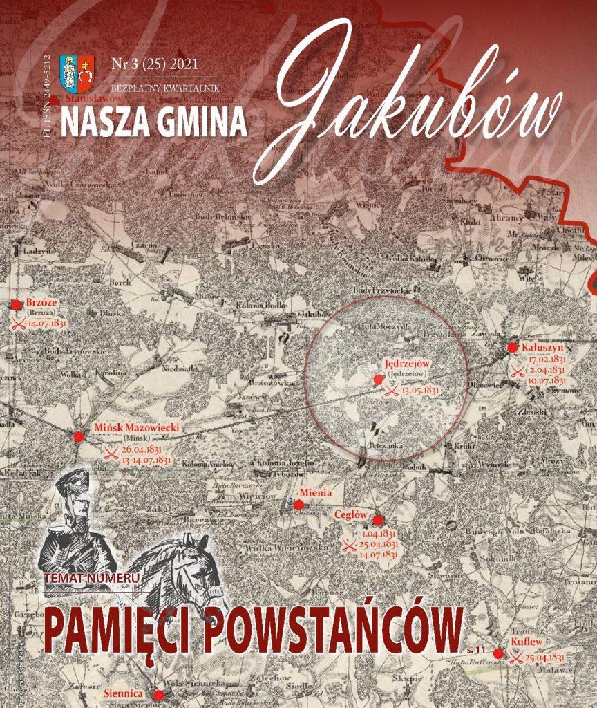 Okładka kwartalnika NASZA GMINA na ktorej jest mapa i wielki napis Pamięci powstańców